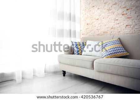 Stylish interior of living room - stock photo