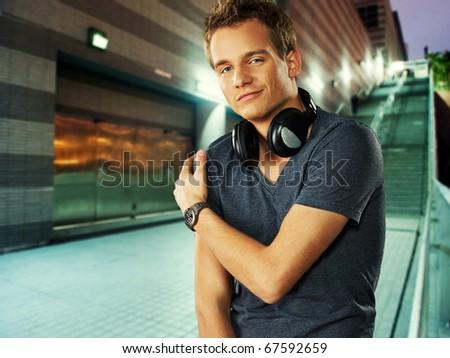 Stylish man outdoors - stock photo