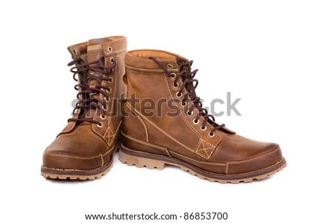 Stylish men's winter boots. Modern design. - stock photo