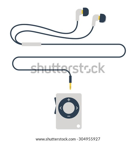 stylish modern MP3 player with earphones in flat style - stock photo