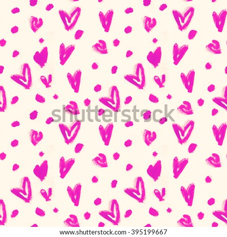 Stylish pattern with magenta pink watercolour hearts. Hand drawn illustration - stock photo
