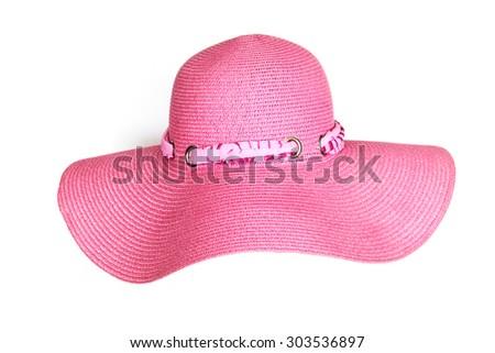 Stylish pink hat isolated on white - stock photo