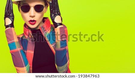 Stylish portrait of glamorous vintage  lady - stock photo