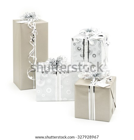 Stylish Red and White Christmas Present Wrapping with Penguins  - stock photo