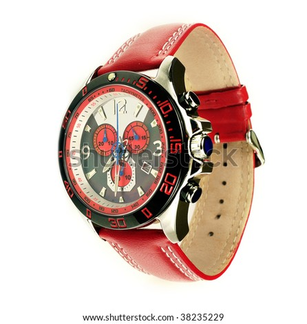 Stylish red leather men's sports watch over white - stock photo