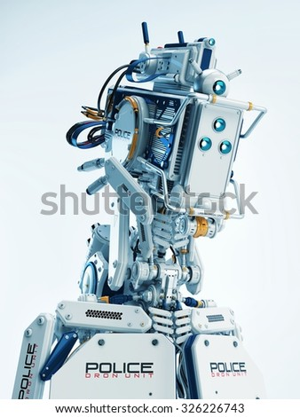 Stylish robot policeman. 3d render of futuristic defender of rules and order / Robot policeman - stock photo