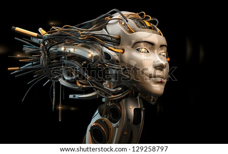 Stylish robotic geisha with wired hairstyle / Robotic geisha in profile - stock photo