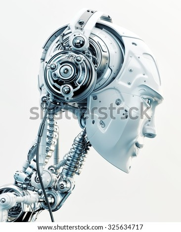 Stylish robotic head in side view listening to music in wired headphones / Robot listening music  - stock photo