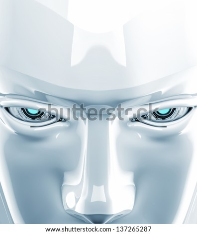 Stylish robotics  eyes with a serious look - stock photo