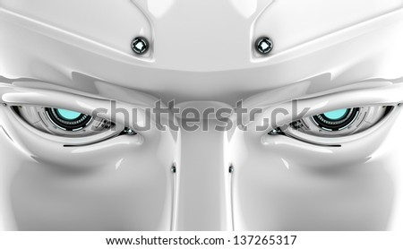 Stylish robotics eyes with  serious look and bolts on forehead / Stylish cyber face - stock photo