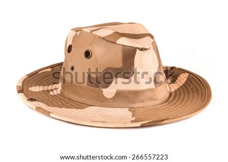 Stylish safari hat with camouflage patterns over white background - stock photo