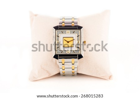 Stylish sapphire swiss quartz jewelery watch with sleek dial having diamonds - stock photo