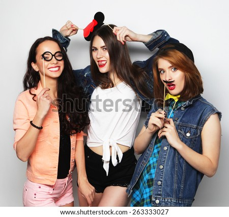stylish sexy hipster girls best friends ready for party - stock photo