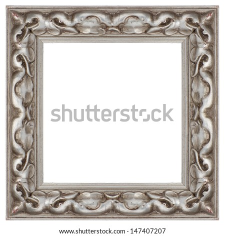 Stylish Silver Frame isolated on white background. - stock photo