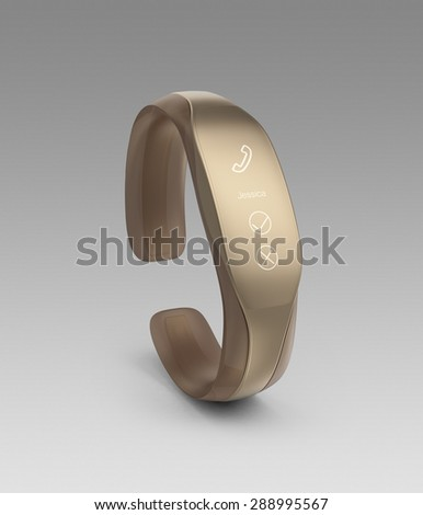 Stylish smart wrist band displaying incoming call notification. - stock photo