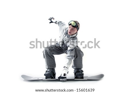 Stylish snowboarder doing indy grab, isolated - stock photo