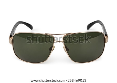 Stylish sunglasses isolated on white background - stock photo