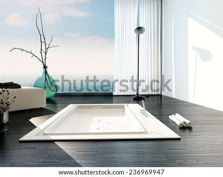 Stylish sunken bath in a modern bathroom with large floor-to-ceiling glass windows with white blinds and view of a cloudy blue sky casting sunlight across the parquet floor and bathtub. 3D Rendering.  - stock photo