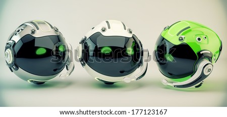 Stylish three call center workers / Smart robotic toy in headphones 3d render - stock photo