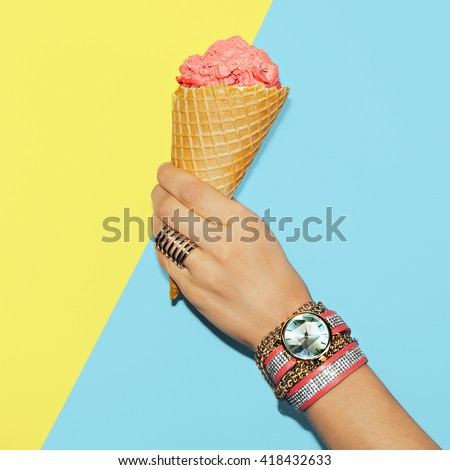 Stylish Vanilla Summer. Fashionable Accessories. Rings, Watches and Bracelets - stock photo