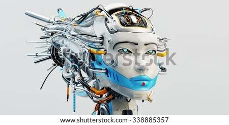 Stylish wired head of beautiful geisha robotic woman with bright blue colored strip covering lips - stock photo