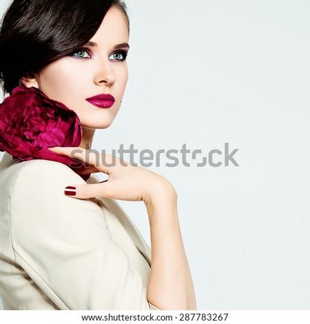 Stylish Woman Fashion Model. Bright Makeup, Healthy Skin and Hair.  - stock photo