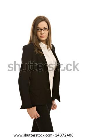 Stylish woman in a blazer, wearing glasses - stock photo