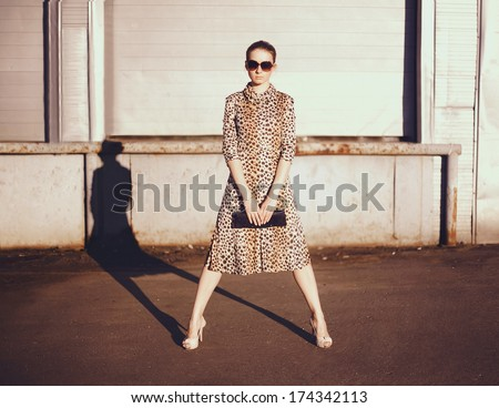 Stylish woman in a leopard dress, glasses witch clutch in the ghetto evening, street fashion - stock photo