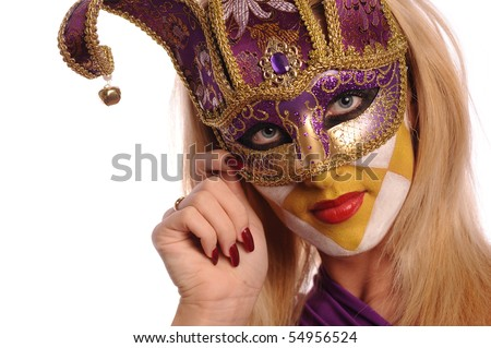 stylish woman in violet half mask isolated on white - stock photo