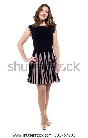 Stylish woman posing, wearing skirt - stock photo