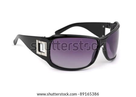 Stylish woman sunglasses isolated on white background - stock photo