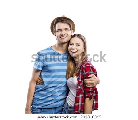 Stylish young hipster couple posing. Studio shot on white background - stock photo