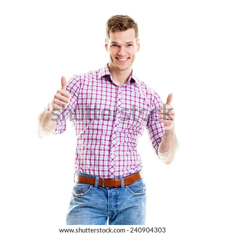 Stylish young man showing both thumbs up - stock photo