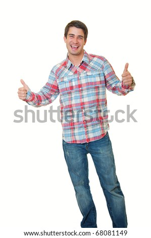 stylish young man standing over white background and showing thumbs up by both hands - stock photo