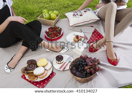 Stylish young people in picnic - stock photo