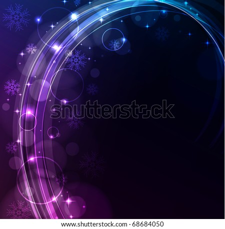 Stylized abstract glowing background with snowflakes, raster illustration - stock photo