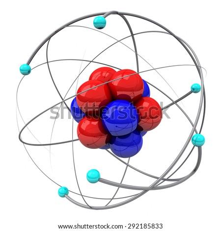 Stylized atom, 3d illustration - stock photo