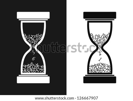 Stylized black and white hourglass (vector version in portfolio) - stock photo