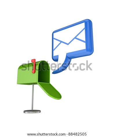 Stylized blue envelope and green postal box.Isolated on white background.3d rendered. - stock photo