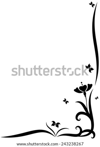 stylized  border with  flowers for corner design - stock photo