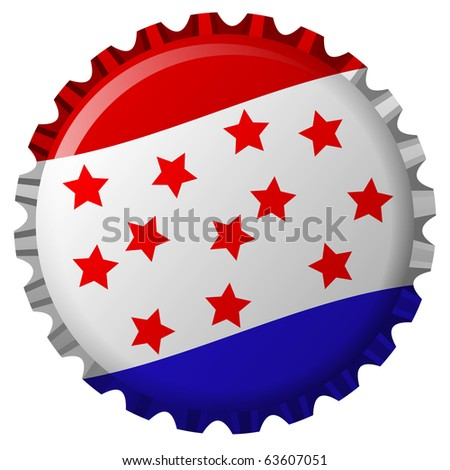 stylized bottle cap with united states flag isolated on white background, abstract art illustration; for vector format please visit my gallery - stock photo
