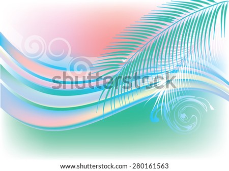 Stylized bright summer background with ocean waves, palm trees and seagulls - stock photo