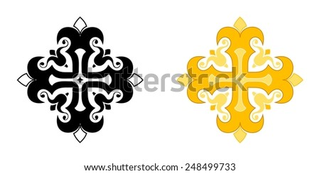 Stylized christian cross. Illustration isolated on background - stock photo
