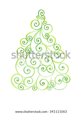 Stylized Christmas tree with colorful ornaments, isolated on white floral swirl greetings card - stock photo