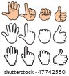 Stylized collection of hands - stock photo