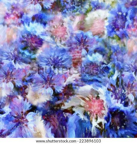 Stylized colorful cornflowers on grunge stained hazy background - stock photo