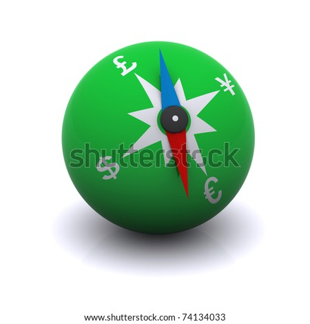 stylized compass indicating the direction of currencies - stock photo
