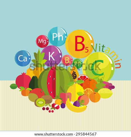 Stylized composition - fresh fruit and vitamins. Trace minerals - calcium, potassium, phosphorus, magnesium and vitamins B5, C, B9, PP. Basics of healthy nutrition. - stock photo