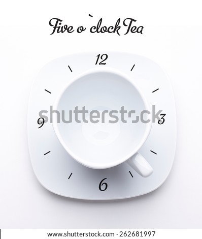 Stylized concept of the clock from tea or coffee cup on white saucer isolated on white. Top view - stock photo