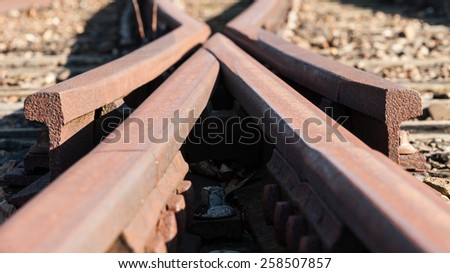 stylized detail from a old Railway swith in the Netherlands - stock photo